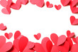 Cut out of red paper hearts on white background isolated.