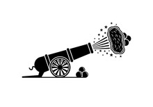 Vector Old Artillery Gun Icon On A White Background.