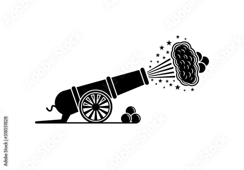Photo Vector old artillery gun icon on a white background.