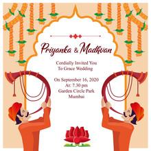 Indian Royal Hindu Wedding Card Invitation Template Design Vector