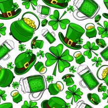 St. Patrick's Day Vector Seamless Pattern On A White Background.