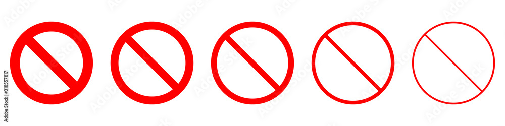 Fototapeta Set of prohibition sign. Stop symbol. Red ban icon