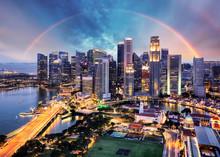 Singapore Cityscape With Rainb...