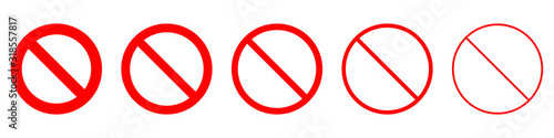 Carta da parati Set of prohibition sign. Stop symbol. Red ban icon