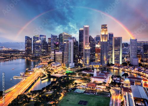 Singapore cityscape with rainbow, Asia