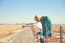 Korean Woman Is Backpacking On...