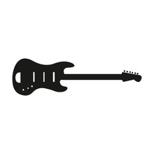 A Vector Silhouette Of An Electric Guitar On A White Background