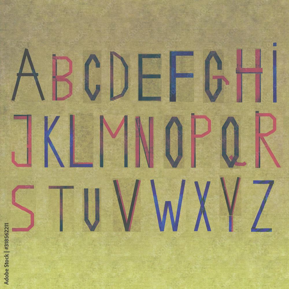 Fototapeta The alphabet on textured background image. Useful design element.