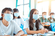 Students Wearing  Protection M...