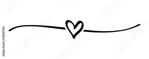 Hand drawn shape heart with cute sketch line, divider shape. Love doodle isolated on white background for wedding, mother, woman or valentines day. Vector illustration - 318567416