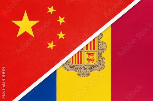 China or PRC vs Andorra national flag from textile Canvas Print