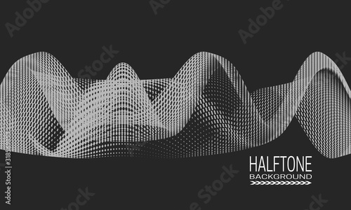 Vászonkép Abstract vector halftone background design with wavy texture of dots