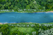 top view of summer green trees with a river