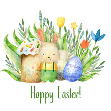 Watercolor Easter Composition With Egg Bunny Flower Leaves On White Background
