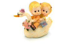 Figurine Boy And Girl On A Swan