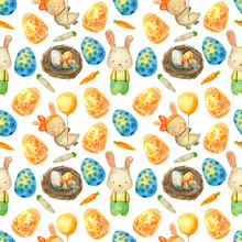 Watercolor Easter Pattern. Vec...