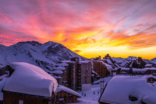Sky On Fire Over Avoriaz In Th...