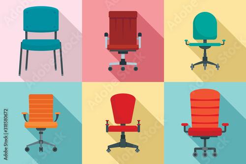 Desk chair icons set Fototapeta