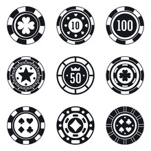 Poker Casino Chips Icons Set. ...