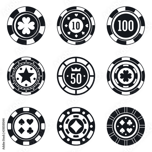 Cuadros en Lienzo Poker casino chips icons set