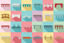 Bridges Icons Set. Flat Set Of...