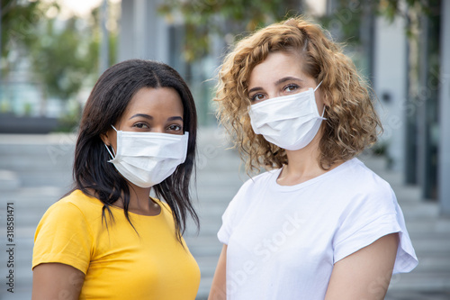 Leinwand Poster sick woman wearing health mask, protective mask for cold, flu, influenza infecti