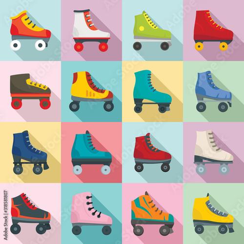Fotomural Roller skates icons set