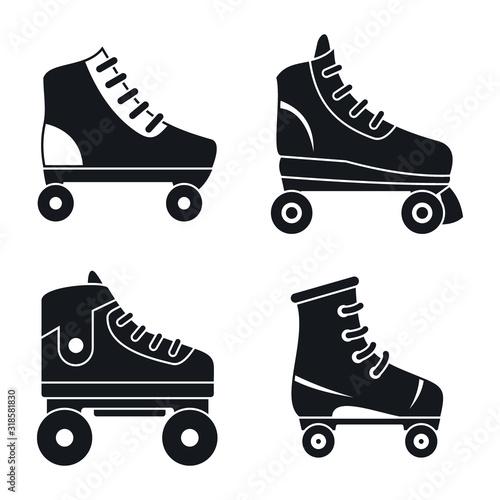 Quad roller skates icons set Fototapeta