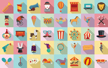 Circus Icons Set. Flat Set Of ...