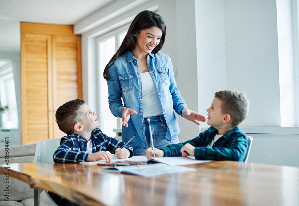 Obraz homework teaching education mother children son familiy childhood fototapeta, plakat