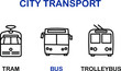 Simple Set of Public Transport Related Vector Icons. Contains such Icons as tram, bus, trolleybus. Black symbols isolated on white.