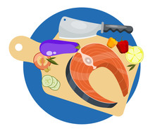 Salmon Recipe Cooking Concept. Fresh Fish Steak Vegetables And Knife Vector Illustration. Salmonids Fish Fillets, Trout With Herbs And Lemon