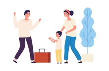 Dad Is Coming Home From Work. Vector Happy Family Concept. Cute Child, Wife And Husband. Illustration Dad Return To Home After Work