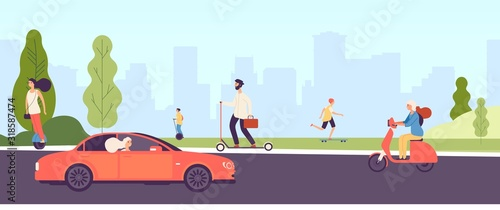 People riding. Man woman with electric vehicles ride motorbike skateboard scooter skate. Happy girl rides car. Vector city park landscape with characters. Illustration scooter electric, ride transport