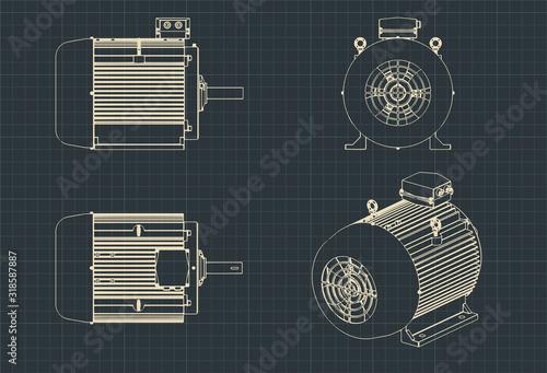 Fotografie, Obraz Electric motor drawings
