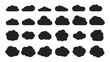 Black cloud shapes. Cloud silhouettes icons collection. Vector thinking bubbles or tags, message abstract shapes. Illustration cloud weather, cloudscape sketch form