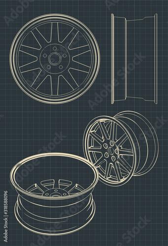 Automotive alloy wheels drawings Canvas Print