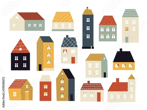 Fototapeta Cartoon houses. Various small cute houses, simple home facade with doors and windows, building exterior, cottage village colored vector set. Architecture building colorful, house facade illustration obraz
