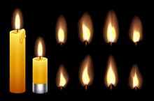 Candle Flame. Burning Wax Candles Lights And Flames. Fire Candlelight Isolated On Black Background. Vector Warm Lighting Set. Illustration Candlelight And Fire Realistic, Religion Or Romance