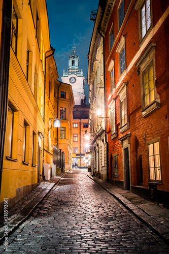 Stockholm's Gamla Stan old town district at night, Sweden Canvas Print