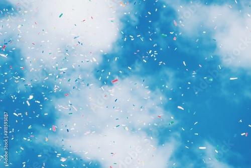 Low Angle View Of Confetti Against Sky - fototapety na wymiar