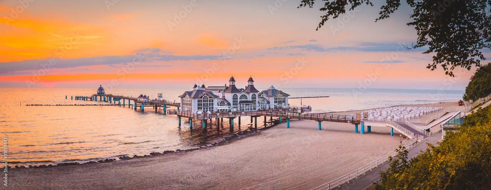 Fototapeta Sellin Pier at sunrise, Baltic Sea, Germany