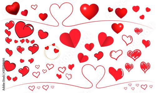Coeurs Saint Valentin  Planche multi coeurs Canvas Print