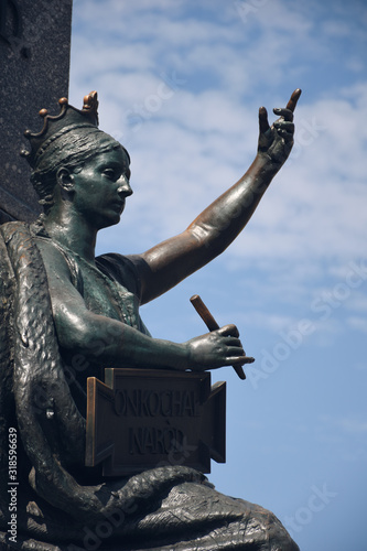 Figure symbolizing the Motherland, fragment of Adam Mickiewicz Monument, Kraków, Poland (Pomnik Adama Mickiewicza w Krakowie), Main Market Square in the Old Town district, erected in 1898 Canvas Print