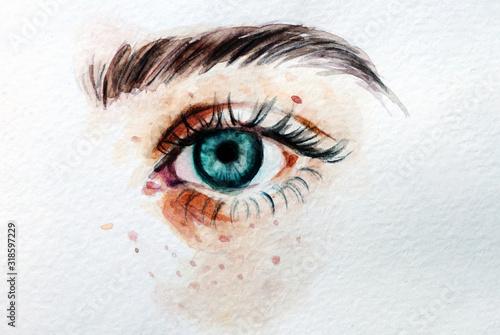 Disegno in acquerello occhio azzurro celeste con lentiggini Canvas Print