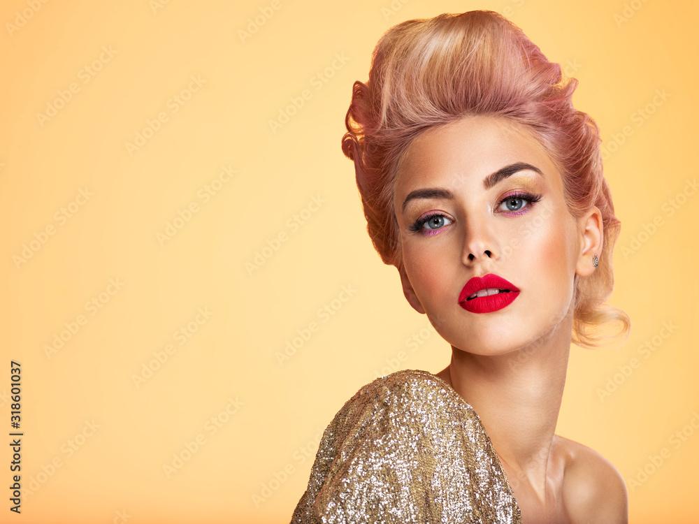 Fototapeta Beautiful blond woman with style hairstyle