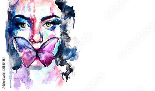 Photo Dipinto in acquerello di ritratto in primo piano di donna con una farfalla sul v
