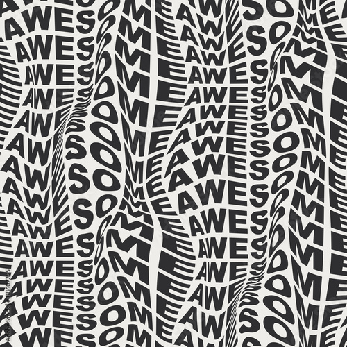 AWESOME Warped words wavy type bold distorted 60s or 70s graphical motif Wallpaper Mural
