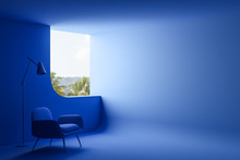 Blue Living Room Interior With...