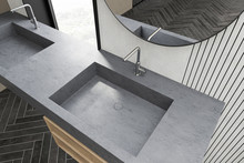 Top View Of Double Sink In Whi...